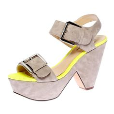Gattas Demi Wedges in Stone and Yellow