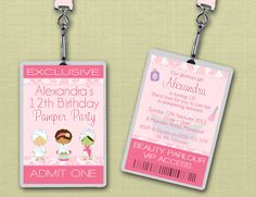 Personalised Pamper Spa Party VIP Lanyard by deezeedesign on Etsy, $20.00