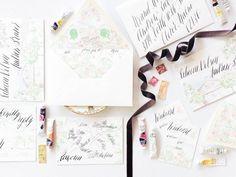 Whimsical Illustrated Wedding Invitations via @Oh So Beautiful Paper: http://ohsobeautifulpaper.com/2013/09/rebecca-andrews-whimsical-illustrated-wedding-invitations/ | Design + Envelope Calligraphy + Photo: @Design House of Moira #calligraphy #watercolor #wedding