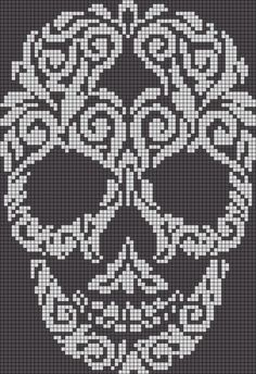 Alpha friendship bracelet pattern added by skull swirl filligree abstract. skull cross stitch or crochet chart türk - The Crocheting Place Picture outcome for cranium crochet diagram a knit and crochet community Zuckerschädel x-Stich , Filet Crochet Charts, Crochet Cross, Crochet Diagram, Knitting Charts, Cross Stitch Charts, Cross Stitch Designs, Cross Stitch Patterns, Knitting Patterns, Embroidery Patterns