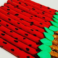 Pretzel Sticks, Pretzel Rods, Watermelon Birthday, One In A Melon, Candy Apples, 1st Birthdays, Rice Krispies, Party Ideas, Treats