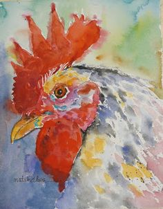 Daily Painters Abstract Gallery: Watercolor Rooster by Texas Daily Painter Nancy Standlee