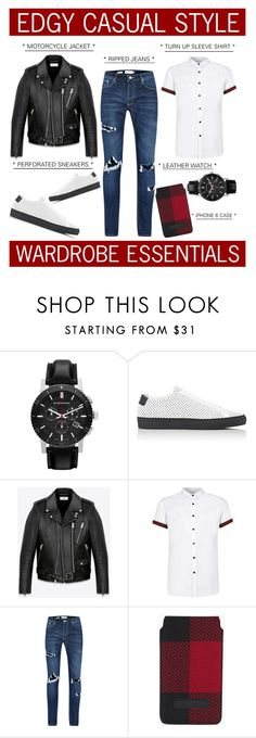 """""""Rugged Rascal - Edgy Casual Style"""" by latoyacl ❤ liked on Polyvore featuring Burberry, Common Projects, Yves Saint Laurent, Topman, Dsquared2, mens, men, men's wear, mens wear and male"""