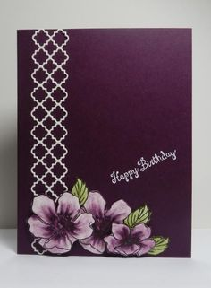 handmade card ...  Fab Florets ... clean and simple design ... luv the deep purple ... Stampin'Up!