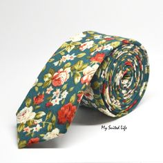 "Tie by My Suited Life 100% Cotton - Triangle bottom - Floral - Green Dimensions: The tie is 2"" in width. Actual colors may vary. We cannot guarantee that the color you see accurately portrays the true"