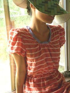 Striped summer dress: orange  white striped summer dress