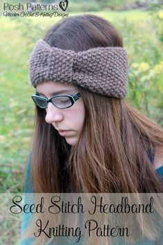 Knitting Pattern - This elegant knit headband pattern features a seed stitch pattern and cinched turban-style design. Adorable for all ages! By Posh Patterns.