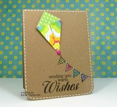 handmade card ... Flying High ... clean and simple ... patterned paper folded kite ... white gel pen faux border stitching ... luv the big mixed font sentiment ... fun and fabulours card!