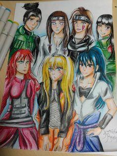 Naruto Female Characters Drawing by Kamikita Ryuu