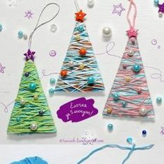 strings and beads christmas tree from cute and easy kids christmas craft ideas Diy Crafts For Kids, Diy For Kids, Craft Ideas, Christmas Crafts For Kids, Christmas Tree, Christmas Ornaments, Beads, Holiday Decor, Children