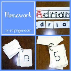 Homework for Preschool, Pre-K, or Kindergarten via www.pre-kpages.com