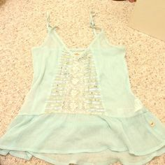 Blue sheer tank top Light blue hollister tank top, worn once Hollister Tops Tank Tops