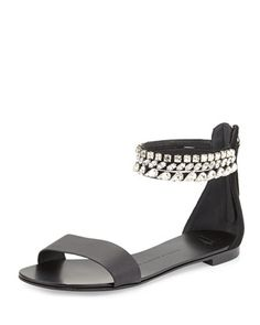Roll 10 Crystal Triple-Strap Flat Sandal, Black by Giuseppe Zanotti at Neiman Marcus.  Oh, to have a bottomless wallet...