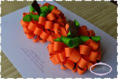 Set of Two Pumpkin Loopy Puff Bows Fall Halloween Thanksgiving OOAK