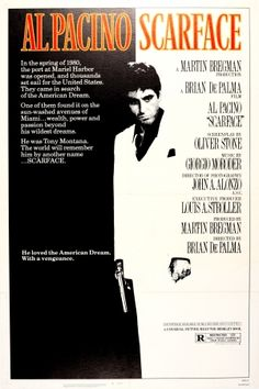 Scarface Al Pacino, 1983 - original vintage movie poster for the award-winning film directed by Brian De Palma, Scarface, starring Al Pacino as Tony Montana, Steven Bauer and Michelle Pfeiffer listed on AntikBar.co.uk