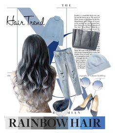 """Untitled #15"" by dariamuresan on Polyvore featuring beauty, iHeart, Christian Louboutin, Lanvin, Linda Farrow, Portolano, Robert Lee Morris, hairtrend and rainbowhair"