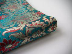 Blue gold red flowers kinkhab heavy Indian silk brocade fabric nr 775 for fat quarter - 1/4 yard by SilksByUmf on Etsy