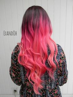READY TO SHIP- Color- Cotton Candy and Hot Pink Blend, with Brown Ombre Roots Style- Natural Wave Fiber- 100% High Quality Remy Human Hair Density