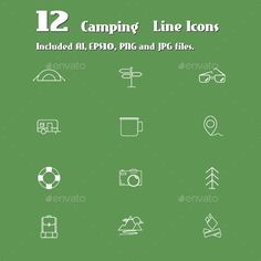 Camping Line Icons Set - Travel Conceptual