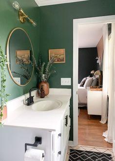 dark green budget bathroom with vintage finds bathroomideas sherwinwilliams eclecticdesign 56787645291170228 Upstairs Bathrooms, Downstairs Bathroom, Bathroom Small, Decorating Small Bathrooms, Master Bathroom, Bad Inspiration, Bathroom Inspiration, Budget Bathroom, Bathroom Interior