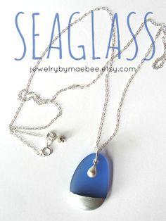 Beachglass necklace seaglass Silver Tipped Sea by JewelryByMaeBee