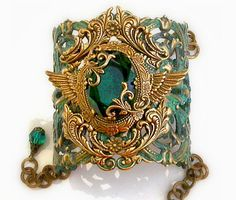 Patina Cuff Bracelet w Emerald Jewel and by LeBoudoirNoir on Etsy, €130.00