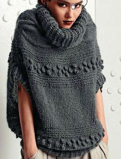 María Cielo: Ponchos tejidos crochet y dos agujas - Örgü Modelleri ve Örgü Örnekleri Hand Knitting, Knitting Patterns, Crochet Patterns, Pull Mohair, Mohair Sweater, Grey Sweater, Slouchy Sweater, Comfy Sweater, Knitted Poncho