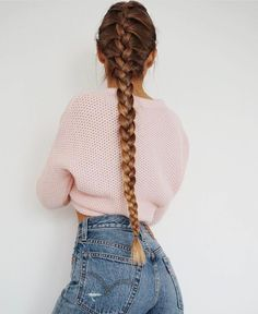 Dip Dye Blonde Brunette Long French Braid Plait Hair Style Hair Inspiration Hair Trends Hair Accessory Pink Wool Crop Sweater And Blue Denim Jeans