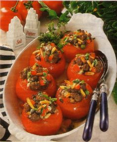 What to do when all tomatoes are ripe? Make stuffed tomatoes. The filling is beef with some cheese and spices. Baked in the oven. Yummy summer recipe.
