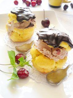 Profiteroles with Cherry Ice Cream
