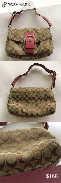 Coach Pink Strap Signature Khaki shoulder bag One of my all time favorite classic it-bag!  Timeless signature coach khaki with a braided leather strap.  Silver hardware and several pockets make this perfect for everyday.  Some wear shown in photos on strap and lower corners.  Interior is very clean with a few light marks on inner flap. Coach Bags Shoulder Bags