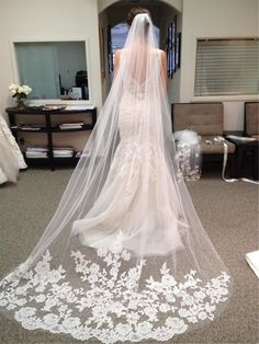 NEW White Ivory Elegent Cathedral Length Wedding Bridal Veil Comb With Lace Edge | eBay