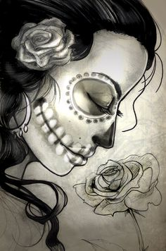Sugar Skull Woman Sketch by Sabtastic on deviantART