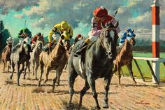 Horses-Racing-Looking behind-Large Size Fine Art Prints-Kentucky Derby Kentucky Derby, Horse Posters, Sport Of Kings, Thoroughbred Horse, Sports Images, Horse Racing, New Art, Oil On Canvas, Giclee Print