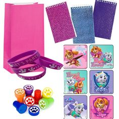 "Are you having a Girl Pup Paw Patrol party? Each set includes: 12 Pink Paper Favor Bags 24 Girl Pups Stickers (2.5""ea.) 12 mini notepads 12 Purple paw print you"