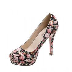 Pantofi de dama black floral Crista