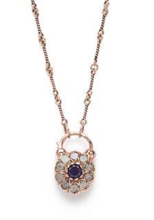 Vintage Cluster Padlock - Arik Kastan Vintage Cluster Padlock: Sapphire, Rough-cut Diamond, 14kt Rose Gold; on a Dog Bone Chain