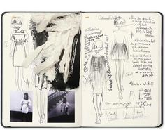 Fashion Sketchbook with fashion design drawings & fabric samples; fashion designer's process