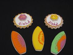 Great cookies for a Hawaiian or beach themed party. Peanut Free and Tree Nut Free Hawaii and Surfing Cookies by Nut Free Sweets. $25.00, via Etsy.