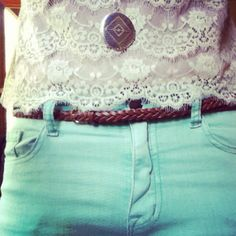 Love the lace with the colored shorts :)