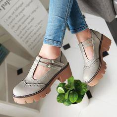 2016 осень, женская обувь, ретро стиль, толстая подошва, водонепроницаемые…