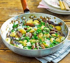Gnocchi with Mushrooms & Blue Cheese [vegetarian] by BBC Good Food Vegetarian Recipes Bbc, Quick Vegetarian Meals, Bbc Good Food Recipes, Veggie Recipes, Vegetarian Italian, Veggie Dinners, Dinner Recipes, Savoury Recipes, Quick Recipes