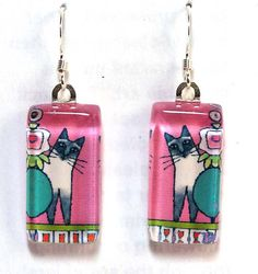 Blue Point Siamese Cat Earrings in Pink by SusanFayePetProjects, $18.00 #cat #siamese #jewelry