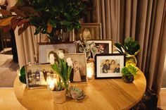 I love the idea of displaying photos of loved ones on their wedding days and with their families at the wedding!