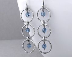 Denim Blue Earrings Blue Crystal Earrings Silver Circle Earrings Silver Drop Earrings Long Beaded Earrings Modern Jewelry - Adorned Aria