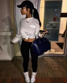 India Westbrooks Grey or white Top with leggings Lazy Outfits, Dope Outfits, College Outfits, Trendy Outfits, Winter Outfits, Summer Outfits, Fashion Outfits, Womens Fashion, Ghetto Outfits