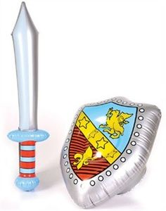 "Private Island Party  - Inflatable Costume Accessory Knight Sword & Shield Set 1778, $2.89  Brand New Renaissance Knight Sword & Shield Set for your little ones. Every Child Knight needs his sword and shield when around the Royal Round Table of the Knights of England! Comes with 26"" Sword and 14"" X 18.5 Shield."