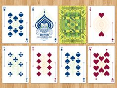 Custom illustrated poker playing cards, limited edition, printed by EPCC. Levels up with every stretch goal. United Cardists 2015 Deck.