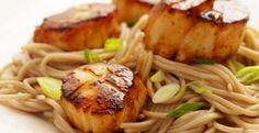 Miso-Glazed Scallops with Soba Noodles  | KitchenDaily.com