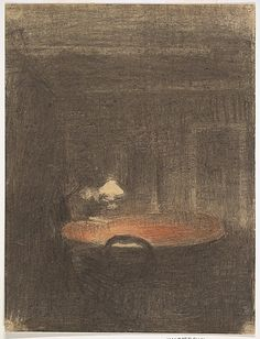 Figure reading at a Table in an Interior at Night Vilhelm Hammershøi (Danish, Copenhagen 1864–1916 Copenhagen) Date: ca. 1891 Medium: Fabricated black and red chalk Dimensions: Sheet: 9 13/16 x 7 7/16 in. (24.9 x 18.9 cm) Classification: Drawings Credit Line: Van Day Truex Fund, 2012 Accession Number: 2012.377